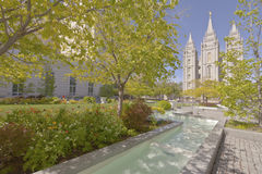 Temple square Salt Lake city Utah. Temple square in Salt lake city Utah with gardens Stock Image