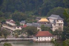Temple in Sri Lanka. Aerial view of temple by lake or river in Sri Lanka Stock Image
