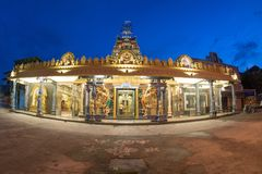 Temple Sri Mangalanayagi Amman Devasthanam, Bukit Mertajam durin. G blue hour Royalty Free Stock Images