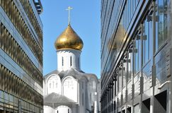 Temple of St. Nicholas. Old and new Moscow meet atTverskaya Zast royalty free stock photo