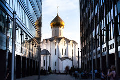 Temple of St. Nicholas in Tverskaya Zastava, Moscow. Stock Photography