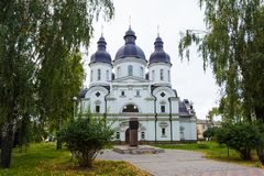Temple of St. Peter Kalnyshevsky in Nedryhailiv, Sumska oblast,. Ukraine. Beautiful white building with domes for religious purposes, Orthodox Church Stock Photos