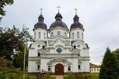 Temple of St. Peter Kalnyshevsky in Nedryhailiv, Sumska oblast,. Ukraine. Beautiful white building with domes for religious purposes, Orthodox Church Stock Image