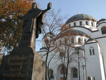 Temple of St. Sava. Is located in Vracar plateau, in centre of Belgrade, Serbia. It is dedicated to founder of Serbian Orthodox Church Stock Images