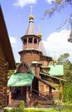 Temple of St. Seraphim of Sarov village of Snegiri wooden temple Stock Photo