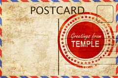 Temple stamp on a vintage, old postcard Stock Photo