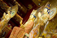 Temple statues. Inside the chinese temple in chinatown singapore Royalty Free Stock Image