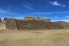 Temple Steps in front of a dramatic sky. The steps of Zapotec ruins in front of a dramatic blue sky at Monte Alban outside Oaxaca, Mexico Royalty Free Stock Photos