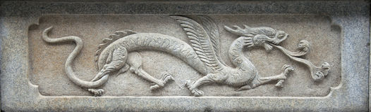 Temple Stone carving,Dragon. Chinese Temple in guangzhou city Royalty Free Stock Photography