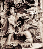 Temple Stong Carving - Give and Help Royalty Free Stock Image