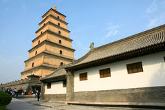 Temple and stupa. The temple is called the Big Jionji, The stupa is called the Big Wild Goose Pagoda,located in Xi'an, China, was built in the Tang Dynasty Stock Photo