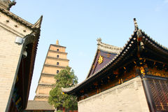 Temple and stupa. The temple is called the Big Jionji, The stupa is called the Big Wild Goose Pagoda,located in Xi'an, China, was built in the Tang Dynasty Royalty Free Stock Image
