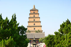 Temple and stupa. The temple is called the Big Jionji, The stupa is called the Big Wild Goose Pagoda,located in Xi'an, China, was built in the Tang Dynasty Stock Image