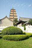 Temple and stupa. The temple is called the Big Jionji, The stupa is called the Big Wild Goose Pagoda,located in Xi'an, China, was built in the Tang Dynasty Stock Photos