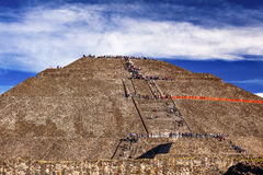 Temple of Sun Climbing Pyramid Teotihuacan Mexico City Mexico Stock Photos