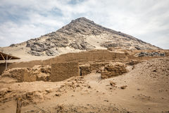 Temple of the Sun (Huaca del Sol). Large historic adobe temple from the Moche culture Stock Photo