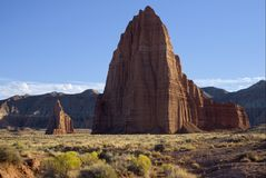 Temple of the Sun and Temple of the Moon. In Cathedral Valley of Capitol Reef National Park, Utah Royalty Free Stock Images