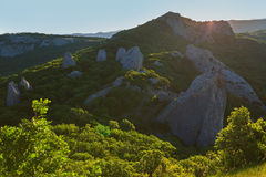 Temple of the Sun - a place power on southern coast Crimea. View from top mountain Ilyas Kaya. Royalty Free Stock Image