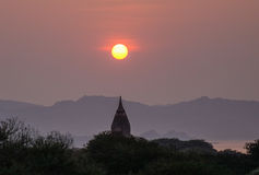 A temple at sunset in Bagan, Myanmar Royalty Free Stock Photography