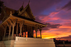 Temple sunset. A Temple in the middle of Bankok with an awesome sunset behind and over the river Royalty Free Stock Images