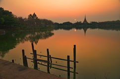 Temple and sunset  Royalty Free Stock Images