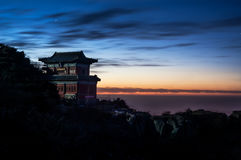 Temple and sunset on the summit of Taishan, China Royalty Free Stock Images