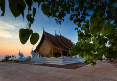 Temple with sunset. Wat Pruprow in Sirinthorn Ubonratchatani Stock Photos