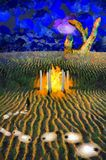 Temple. Surreal painting. Man stands near the temple of fire. Giant stone hand at the horizon. Light bulbs represents ideas. This image created in entirety by me Stock Image