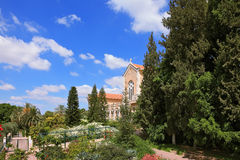 The temple is surrounded by a lush garden Royalty Free Stock Photos
