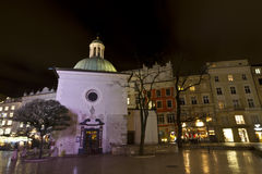 Temple Swietego Wojciecha on Market square at christmastime in Krakow Royalty Free Stock Images
