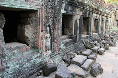 Temple Ta Phrom in Angkor Stock Images
