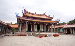 Temple Taiwan courtyard. Taiwan temple in the heart of the city of Taipei. Historic colorful building with a religious history. The main courtyard in the temple royalty free stock photos