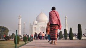 Delhi, India - November 28, 2018: Temple Taj Mahal visited by tourists. Temple Taj Mahal visited by tourists stock video footage