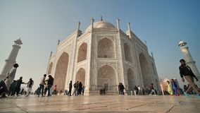 Delhi, India - November 28, 2018: Temple Taj Mahal visited by tourists. Temple Taj Mahal visited by tourists stock footage
