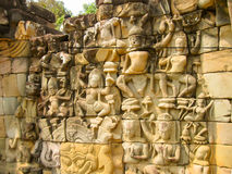 The Temple Terrace of Elephants in the Angkor near the City Siem Royalty Free Stock Images