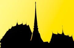 Temple thaïlandais dans le style de silhouette Photographie stock