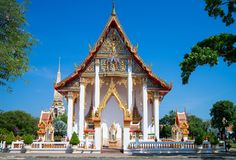 Temple thaïlandais, Wat Chalong - Phuket, Thaïlande photographie stock libre de droits