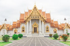 Temple thai. The beauty of Thai temples is called Wat Benchamabophit. Or Marble Temple, the most famous attraction of Bangkok, Thailand stock photo