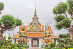 Temple thai or Wat Arun. Wat Arun has sculpture. Crown arch top Entrance to the beautiful temple. It is one of the most famous places in Bangkok, Thailand stock images