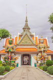 Temple thai or Wat Arun. Wat Arun has sculpture. Crown arch top Entrance to the beautiful temple. It is one of the most famous places in Bangkok, Thailand stock photo