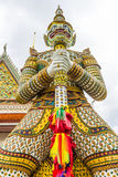 Temple thai or Wat Arun. Wat Arun has sculpture. Crown arch top Entrance to the beautiful temple. It is one of the most famous places in Bangkok, Thailand royalty free stock images
