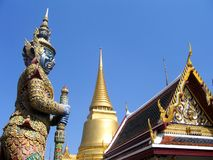 Temple in Thailand. Temple and statue in Bangkok, Thailand Royalty Free Stock Images