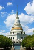 Temple in thailand  on the blue sky texture background. Stock Photos