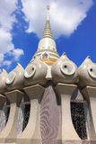 Temple in thailand  on the blue sky texture background. Royalty Free Stock Photo