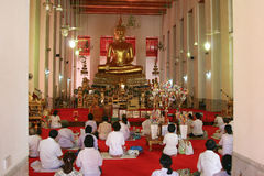Temple in Thailand (indoor). Modern Temple in Bangkok, Thailand Royalty Free Stock Image