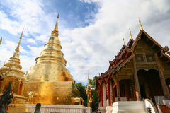 Temple in Thailand which identity of the country, Gold temple and pagoda in temple which buddhism would like to pray the buddhist. In the temple, beautiful stock image