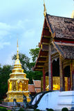 Temple in Thailand which identity of the country, Gold temple and pagoda in temple which buddhism would like to pray the buddhist Stock Photos