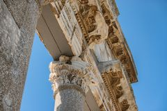 Temple and theater in the ancient city of Apollonia in Albania stock images