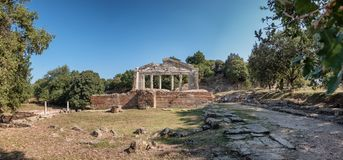 Temple and theater in the ancient city of Apollonia in Albania stock image