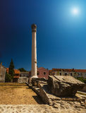 On Temple there was Corinthian column, Nin, Croatia. In very centre of Nin, Croatia, on location of once Roman forum, remains of monumental Roman Temple can be Royalty Free Stock Photo